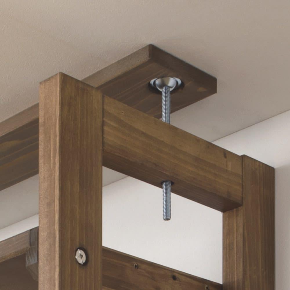 国産檜 頑丈突っ張りシェルフ 幅45奥行29cm(天井対応高さ188~252cm) 天井との突っ張り部分は面でしっかりと支えます。