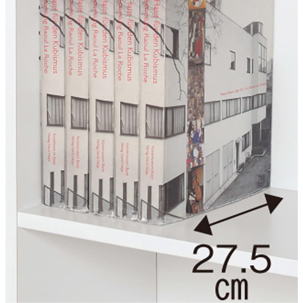 天井突っ張り式壁面ラック 扉タイプ上置き付き 幅90奥行32本体高さ235cm 内寸奥行27.5cm。