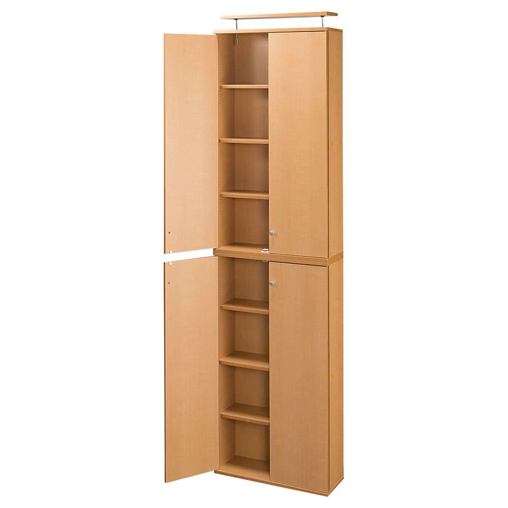 天井対応高さを選べるすっきり突っ張り書棚 奥行22cm・1列棚タイプ 本体高さ220cm(天井対応高さ223~233cm) (ア)ライトブラウン ※写真は幅60cmタイプです。