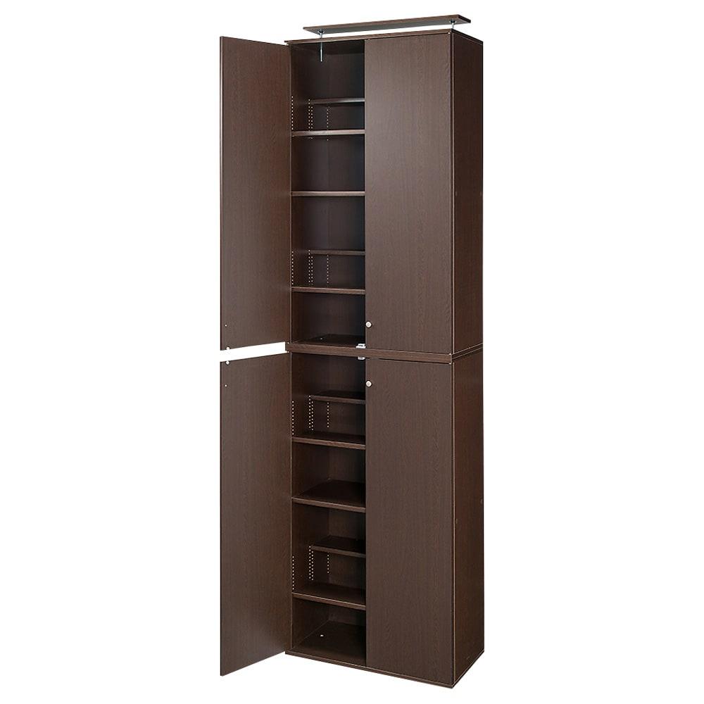 天井対応高さを選べるすっきり突っ張り書棚 奥行39cm段違いタイプ 本体高さ200cm(天井対応高さ203~213cm) (イ)ダークブラウン ※写真は幅75cmタイプです。