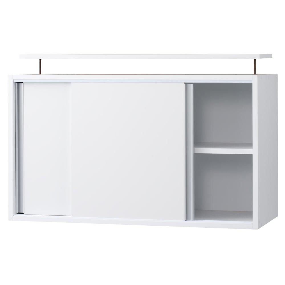 光沢仕様 引き戸壁面収納本棚 幅90奥行40突っ張り上置き高さ55~70(本体52)cm お届けはこちら。全段可動棚板で無駄なく収納できます。