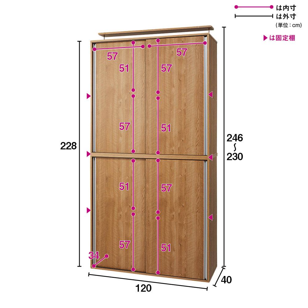 大量収納が自慢の引き戸式本棚 幅120本体高さ228cm 奥行40cm