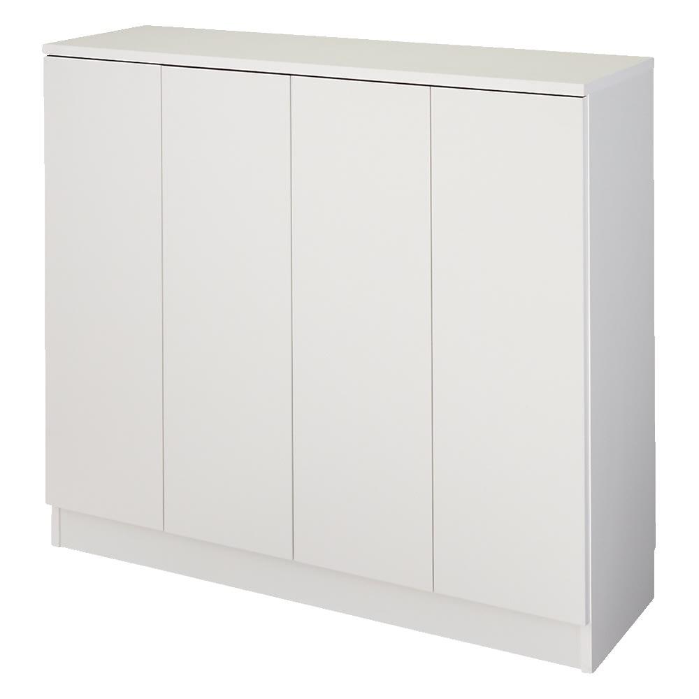 【完成品】リビングブックキャビネット 幅115.5奥行35高さ100cm (ウ)ホワイト