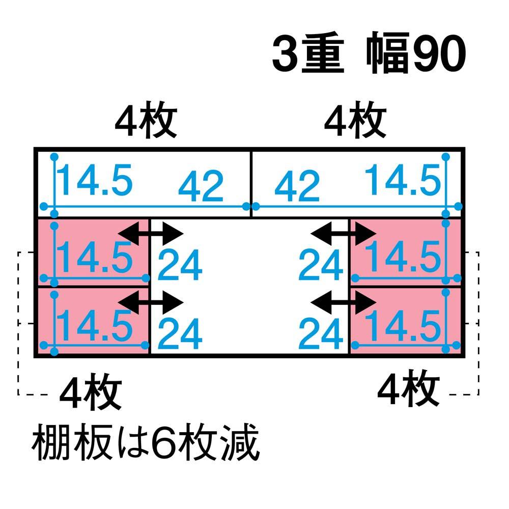 スライド式CD&コミックラック 3重タイプ4段 幅90cm [コミック・文庫本・DVD用] 詳細図