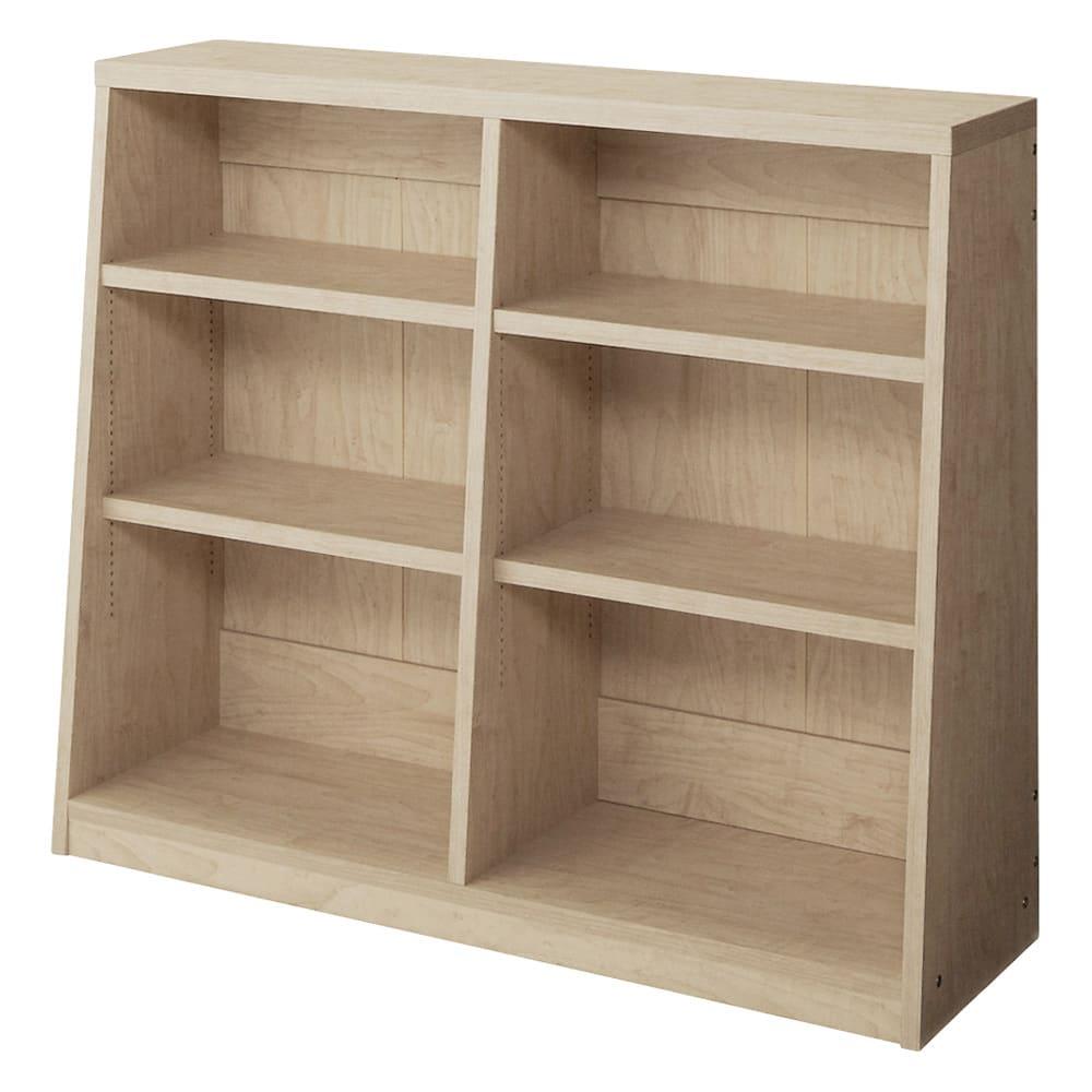 脚元安定1cmピッチ棚板頑丈薄型書棚 高さ76.5cm 【幅90cmタイプ】(ウ)ナチュラル