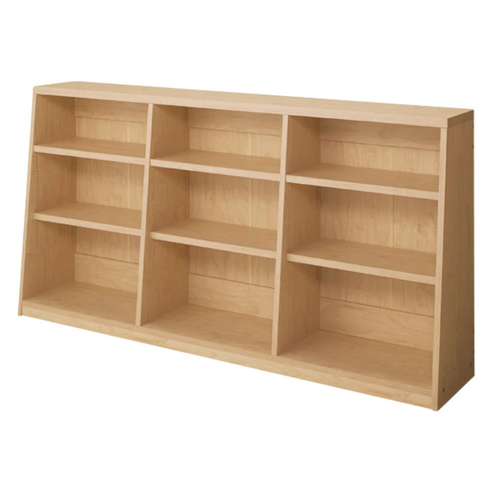 脚元安定1cmピッチ棚板頑丈薄型書棚 高さ76.5cm 【幅150cmタイプ】(ウ)ナチュラル