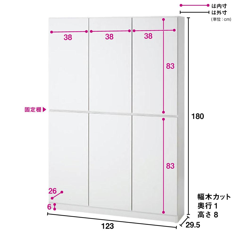 1cmピッチ薄型壁面書棚 奥行29.5cm 幅123cm 高さ180cm 扉