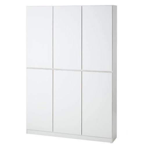 1cmピッチ薄型壁面書棚 奥行29.5cm 幅123cm 高さ180cm 扉 (イ)ホワイト ごちゃごちゃと収納しても扉です。っきりとした印象に。