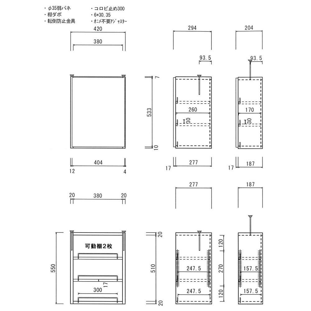 1cmピッチ薄型壁面書棚 奥行19cm 幅42cm 上置き高さ55cm オープン 【詳細図】