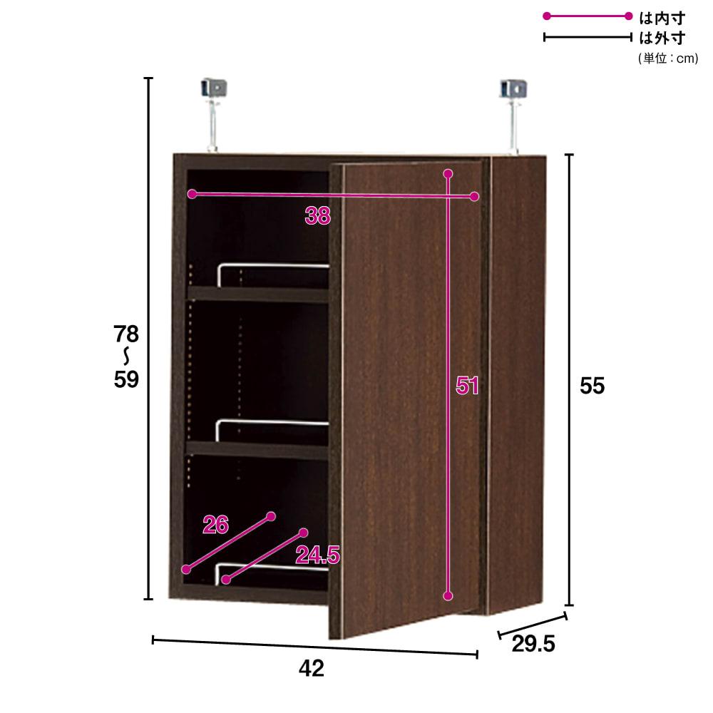 1cmピッチ薄型壁面書棚 奥行29.5cm 幅42cm 上置き高さ55cm 扉