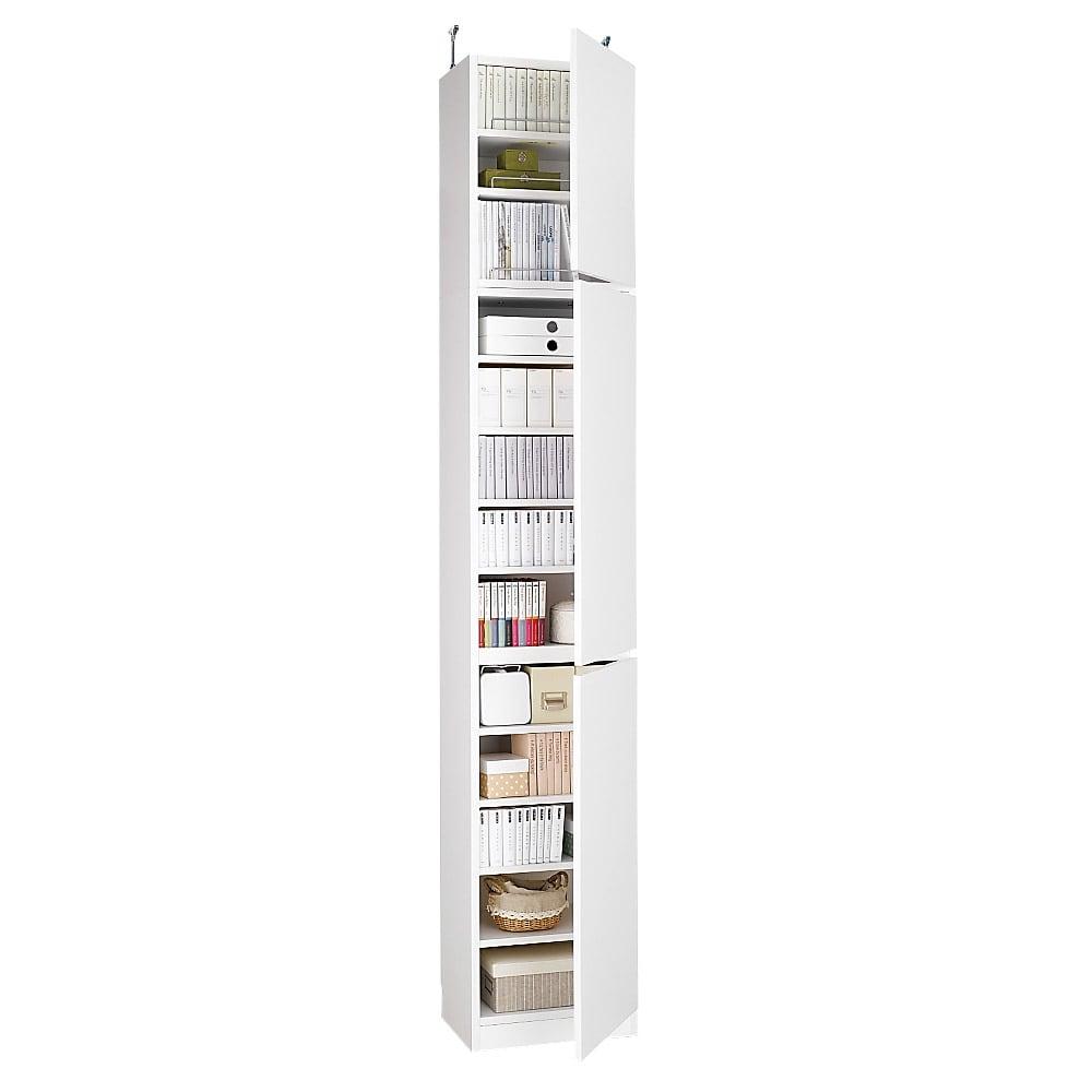 1cmピッチ薄型壁面書棚 奥行29.5cm 幅42cm 上置き高さ55cm 扉 (イ)ホワイト 写真は、高さ180cm扉タイプ幅42cmと上置き幅42cmの組み合わせ例です。 お届けは上置きのみです。