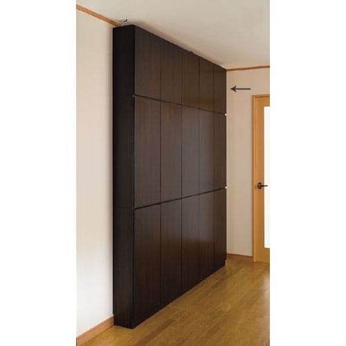 1cmピッチ薄型壁面書棚 奥行29.5cm 幅123cm 上置き高さ55cm 扉 (ア)ダークブラウン色見本 写真は奥行20cmタイプです。 お届けは上置き(奥行30cm)です。