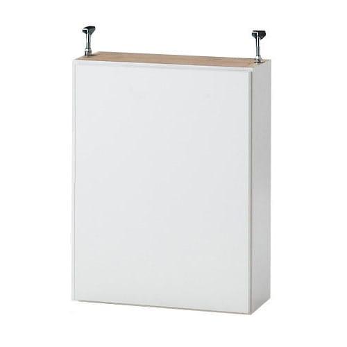1cmピッチ薄型壁面書棚 奥行29.5cm 幅123cm 上置き高さ55cm 扉 (イ)ホワイト色見本 ※写真は幅42奥行20cmタイプです。