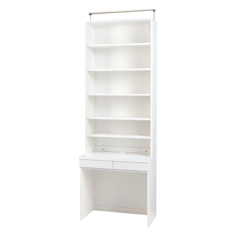 モダンブックライブラリー デスクタイプ 幅80cm 色見本(イ)ホワイト ※写真は天井突っ張り式幅80cmタイプです。