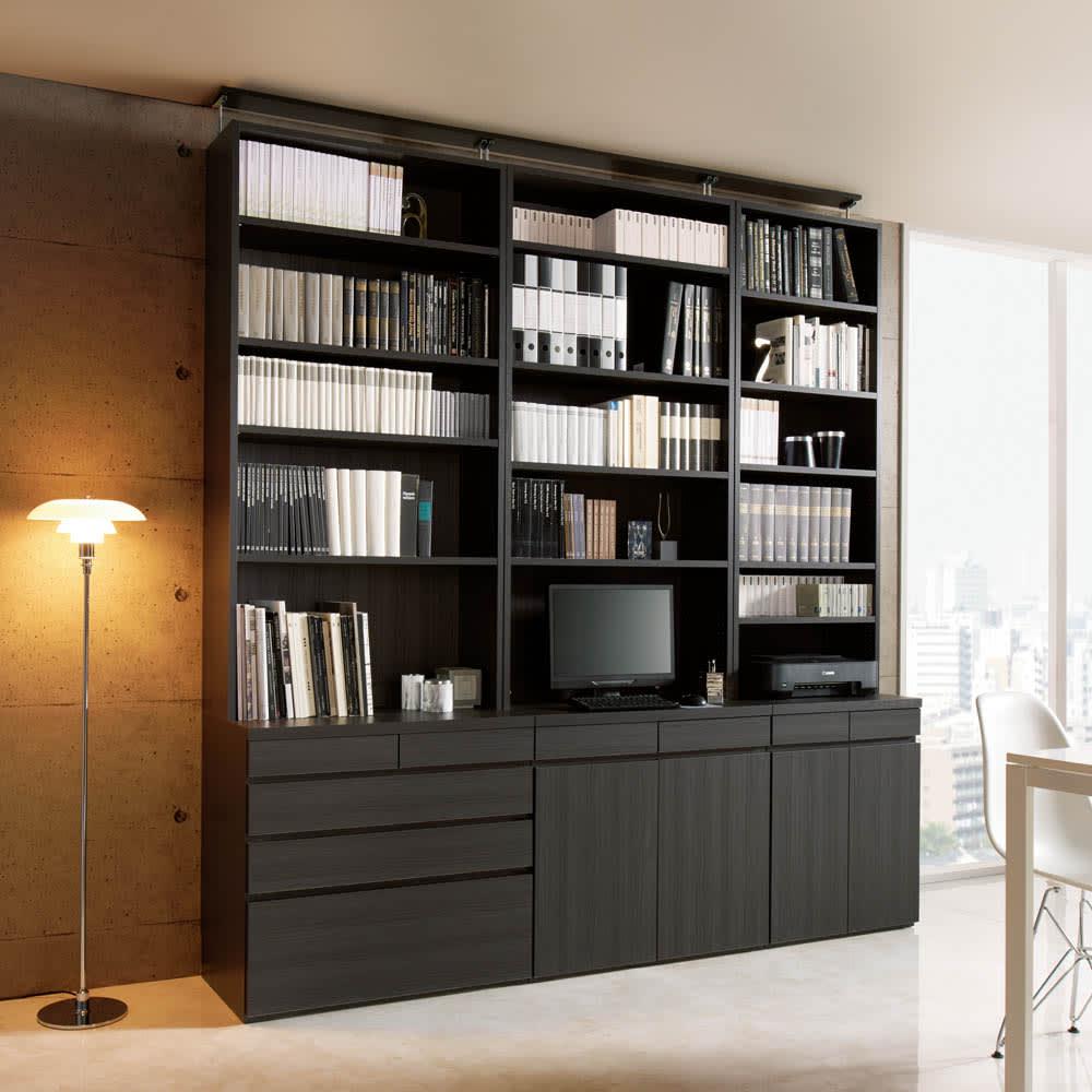 モダンブックライブラリー 天井突っ張り式 デスクタイプ 幅80cm シックでモダンな書斎空間が叶います。(ア)ブラック