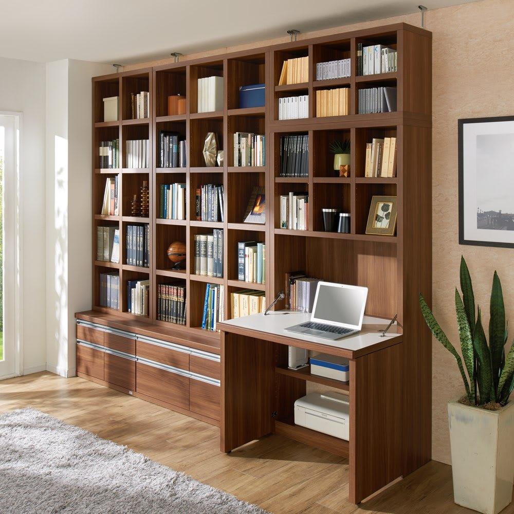 【完成品】重厚感のあるがっちり本棚シリーズ シェルフ 幅75高さ114奥行30cm ※左から幅75cmチェスト、幅110cmチェスト、デスクになります。色見本(ア)ダークブラウン