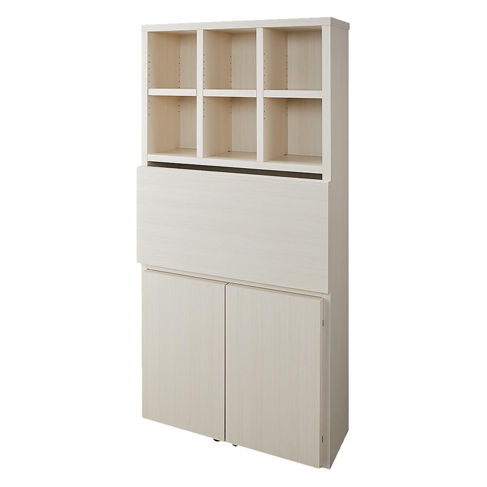【完成品】重厚感のあるがっちり本棚シリーズ デスク 幅89高さ180奥行35cm (ウ)ホワイト(木目)