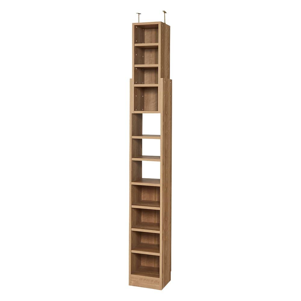 1台で壁いっぱいに本を収納!本好きのための壁面つっぱり本棚 幅オーダー(1cm単位) 本体幅30~45奥行17cm (ア)ブラウン(木目調)