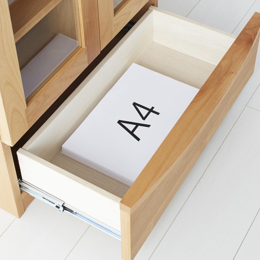 アルダー天然木頑丈書棚幅60奥行32ミドルタイプ高さ130cm A4サイズもゆったり入る引き出し付。充実の収納で整理整頓も簡単。