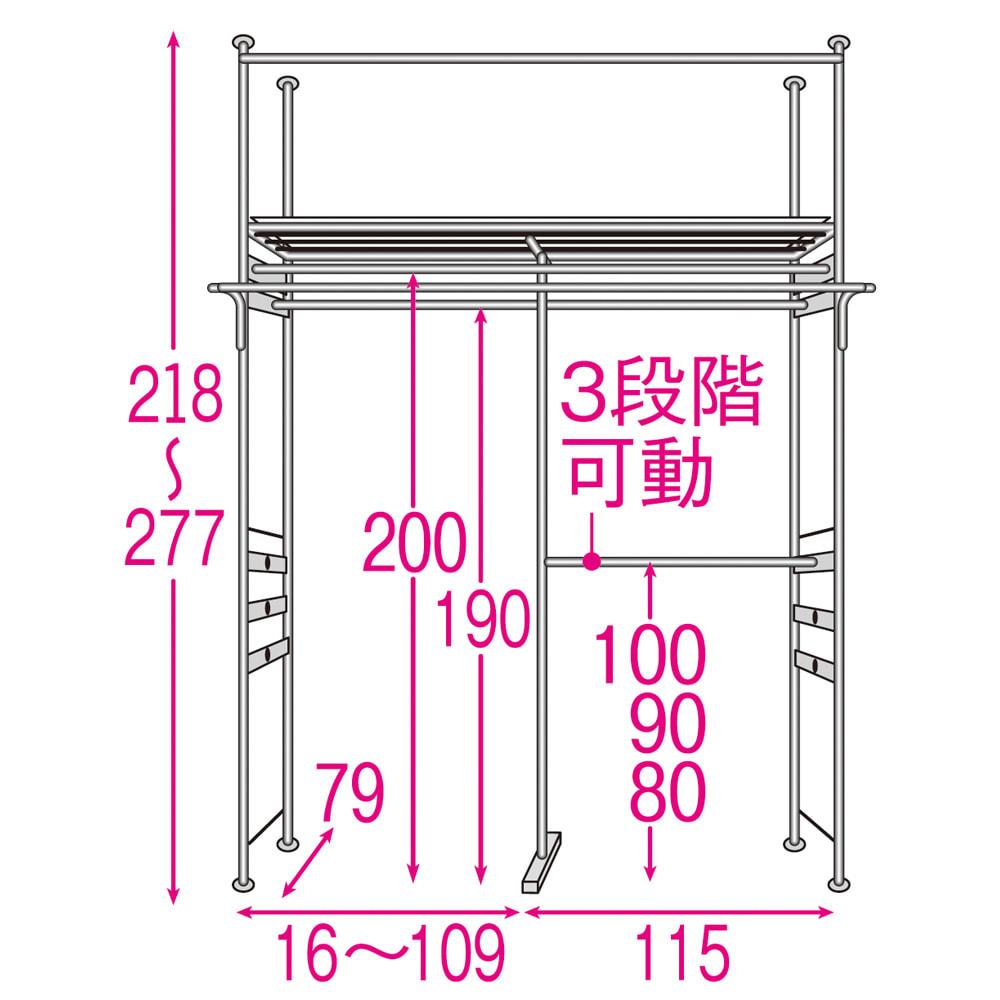 奥行79cm 上下カーテン付き突っ張り頑丈ハンガーラック ハイタイプ・【標準】幅137~230cm対応 内部の構造図(単位:cm) 2段掛け下段ハンガー部は左右どちらにも取り付け可能。