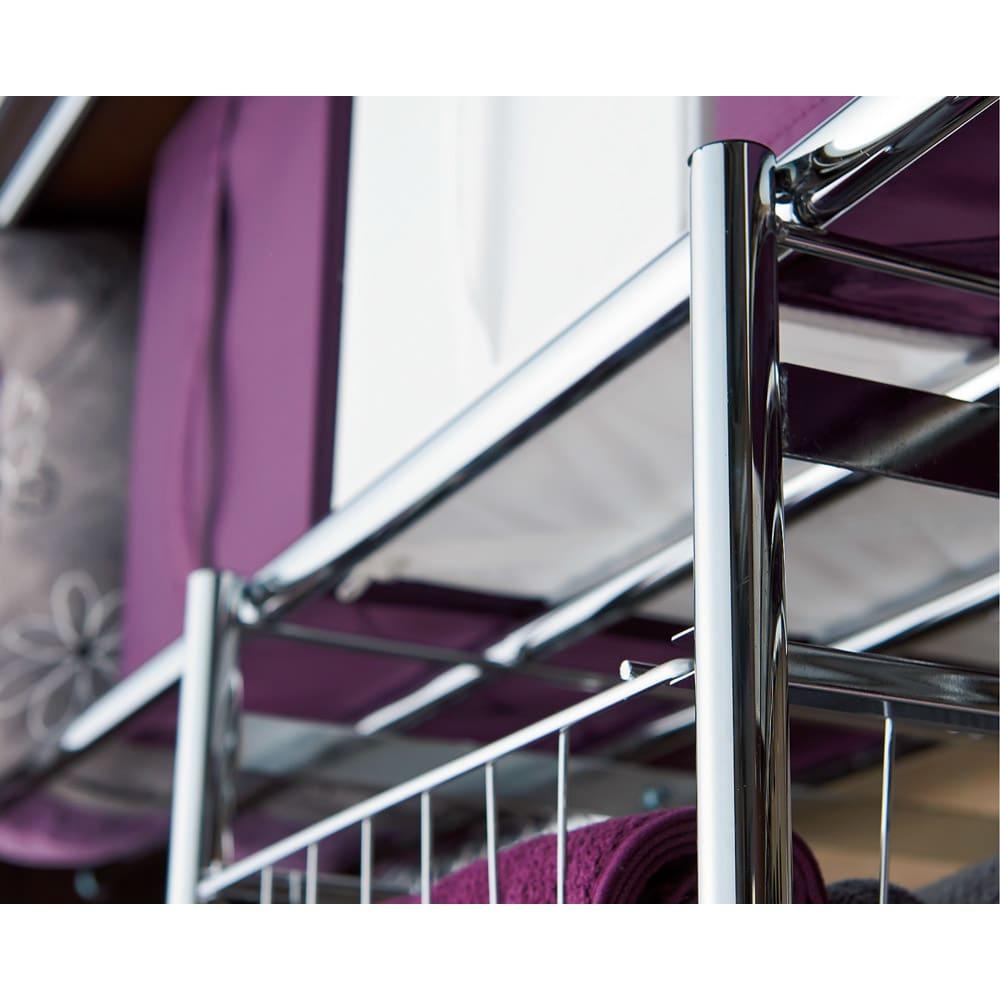 カーテン付き アーバンスタイルクローゼットハンガー 引き出し付きタイプ・幅144~200cm対応 高級感あふれるシルバーのオールメッキ仕様です。