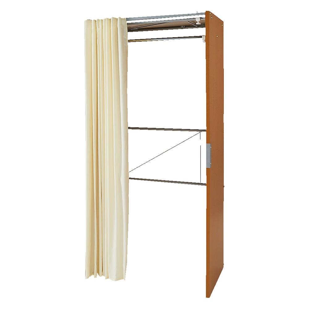 部屋に合わせてコーディネート カーテン取り替え自在ハンガー 棚なしタイプ 幅85~125cm (イ)ナチュラル サイドパネルは金具で上下連結しています