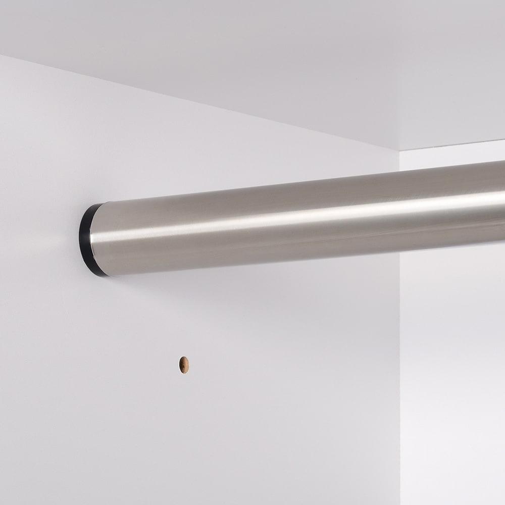 ウォークインクローゼット収納シリーズ ハンガータイプ 幅150cm・奥行55cm ハンガーバーは側板からしっかり固定できます。