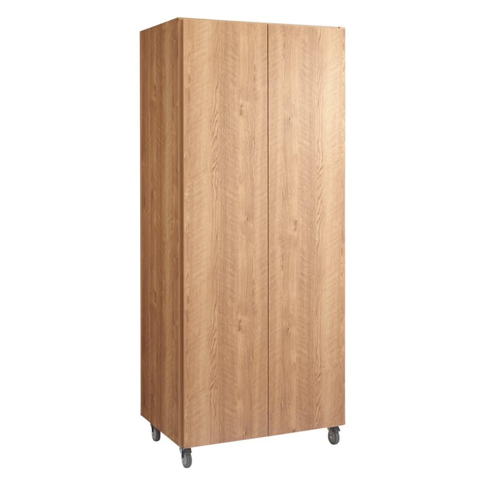移動式間仕切りクローゼット 板扉タイプ・可動棚板4枚 (ウ)ブラウン