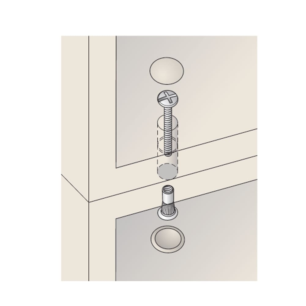壁面間仕切りワードローブ 幅60cm用「オーダー上置き」・高さ26~90cm(1cm単位オーダー) 上置と本体はジョイントネジで連結。