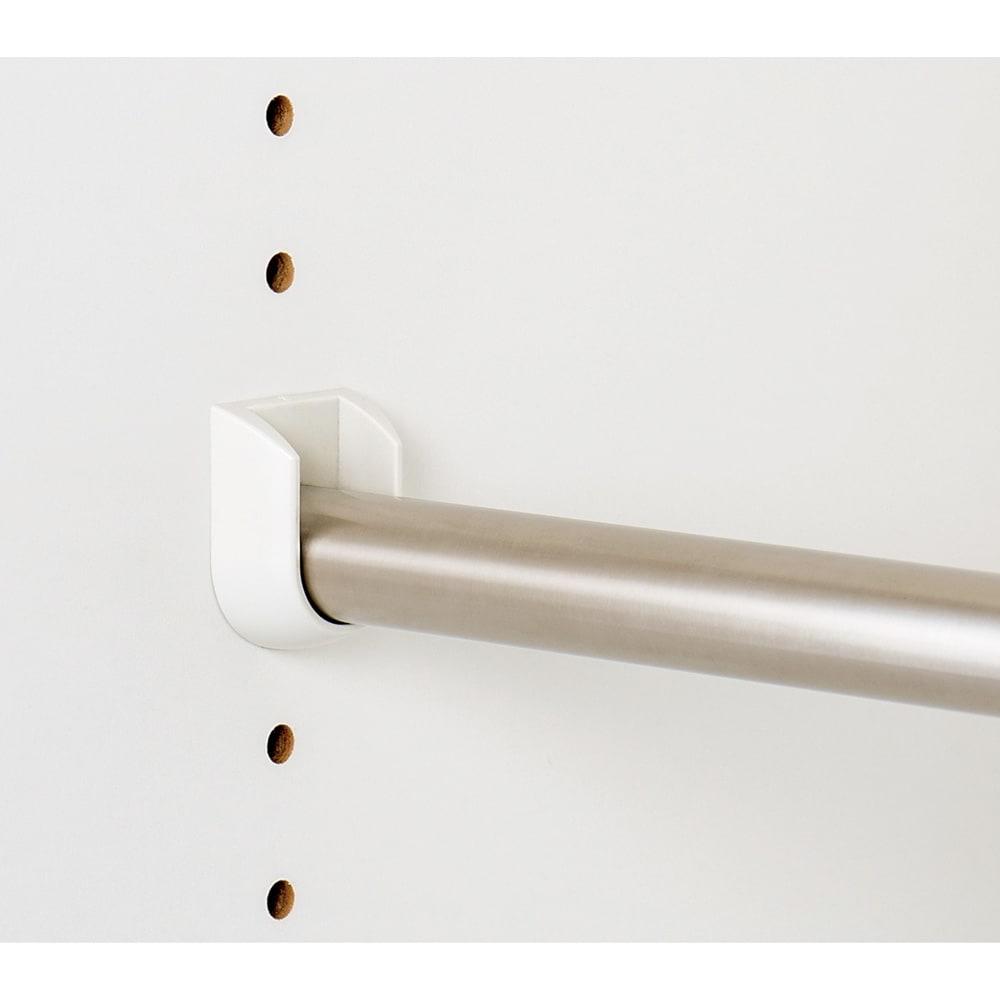 引き戸間仕切りワードローブ ハンガー+棚・幅118cm 中央のハンガーバーは調節・取り外し可。