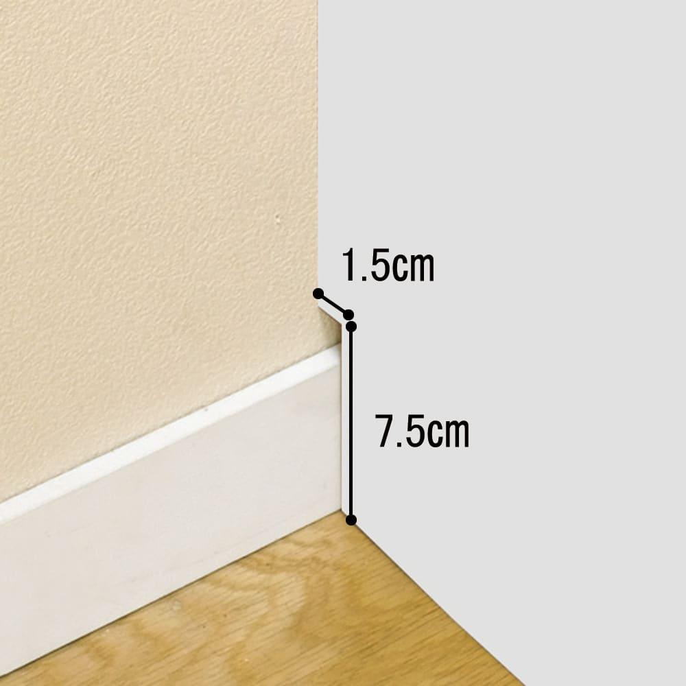 【日本製】シンプルスタイルワードローブ 棚 幅77.5cm奥行56cmタイプ 幅木をよけて壁にぴったり設置可能。
