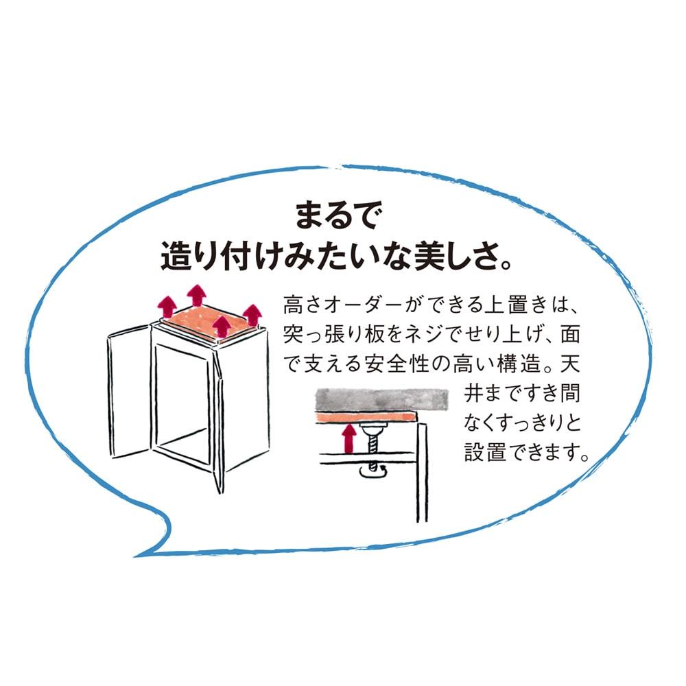 【日本製】シンプルスタイルワードローブ オーダー上置き 幅39cm(左開き) 奥行56cmタイプ