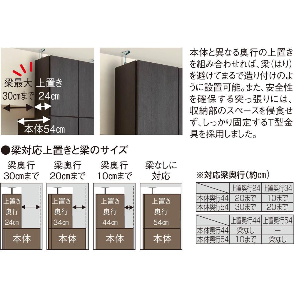 梁避け対応システムユニット 奥行54cmタイプ 棚収納&引き出し 上置きの奥行は梁に合わせて選べる4種類。
