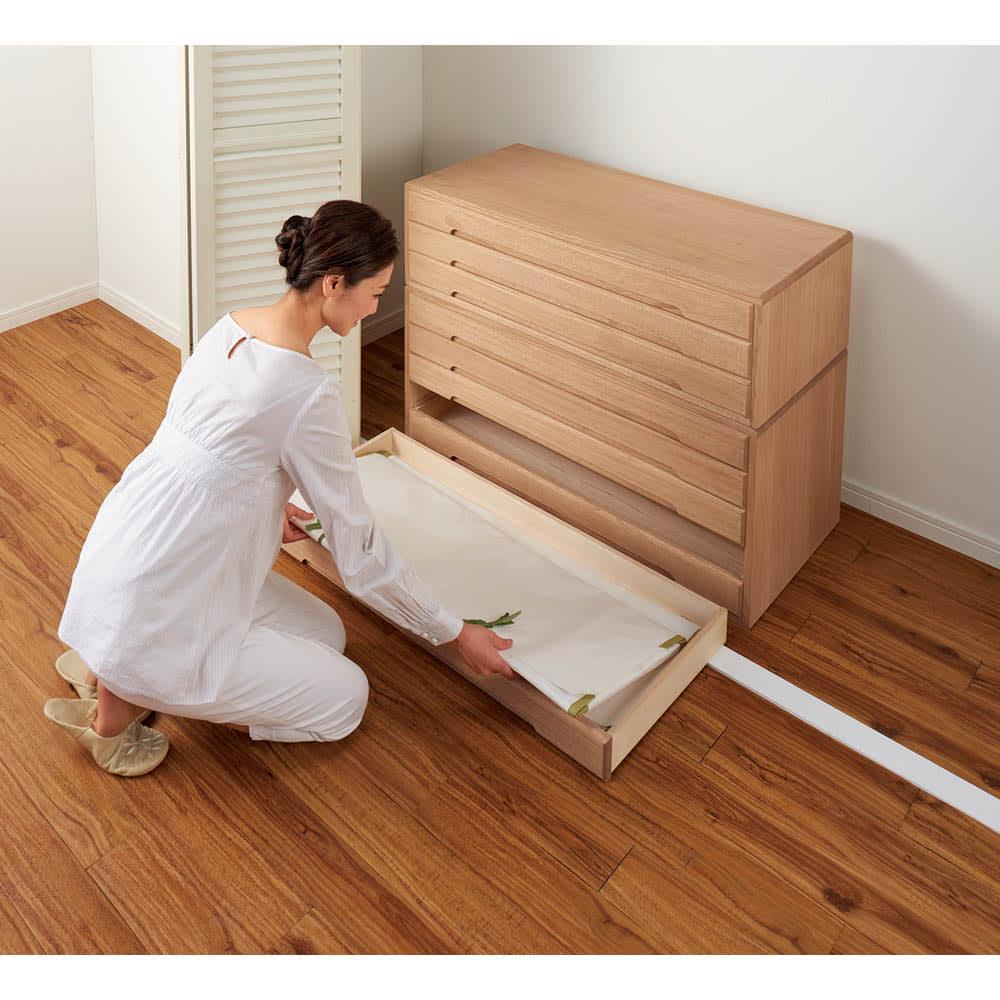 自分仕様に造れる 総桐ユニット箪笥 着物収納箪笥5段 引き出しの内寸は幅92.5奥行38高さ5.5cm、着物を大切に保管できます。