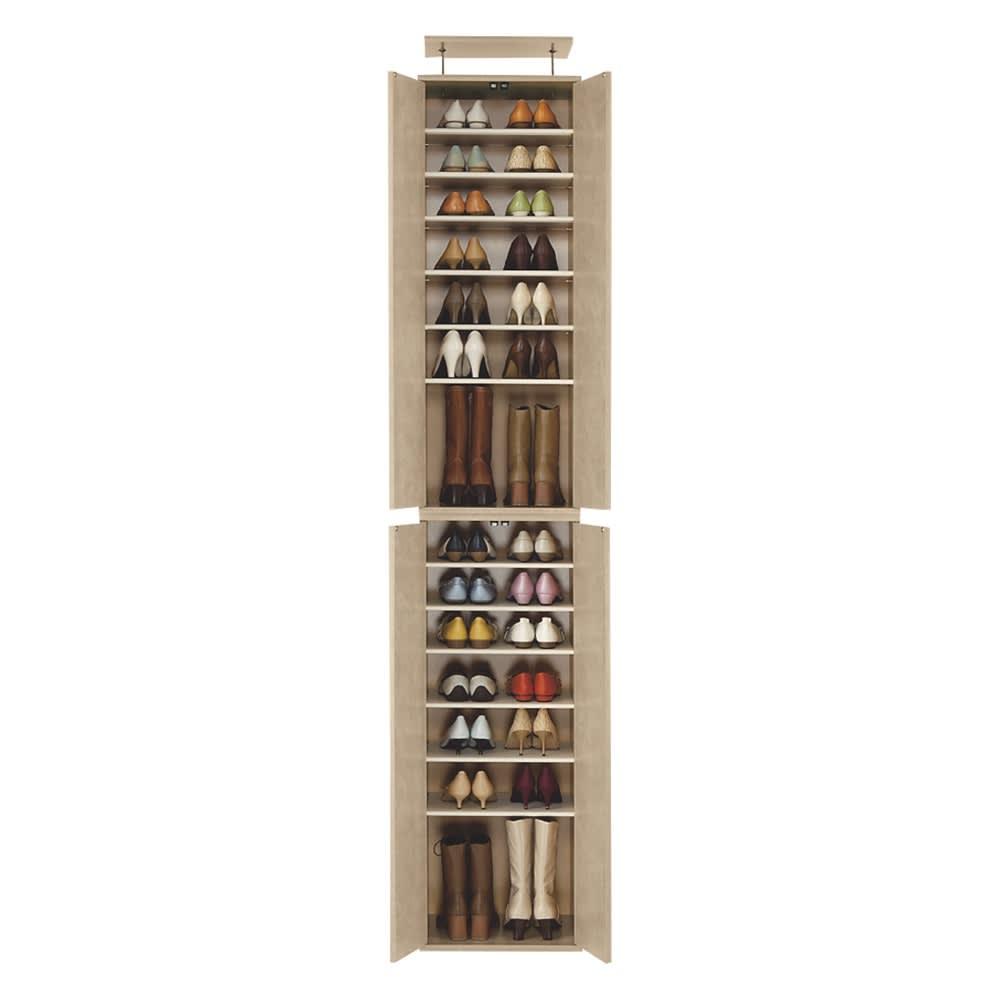 並べても使える 突っ張り式ユニットシューズボックス 天井高さ214~224cm用・幅45cm[紳士靴対応] 色見本(イ)ライトブラウン ※写真は幅45天井高さ234~244cmタイプ