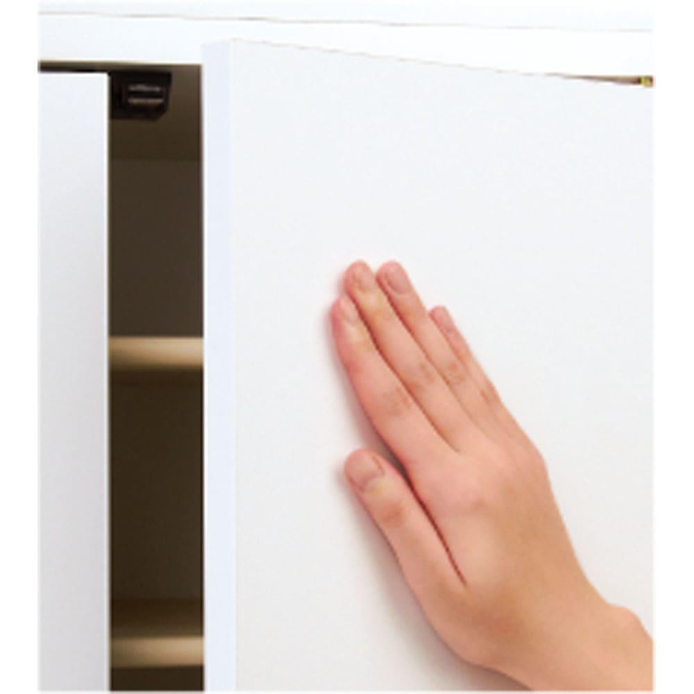 並べても使える 突っ張り式ユニットシューズボックス 天井高さ214~224cm用・幅45cm[紳士靴対応] 扉には取っ手のないシンプルなデザイン。扉はプッシュ式開閉です。