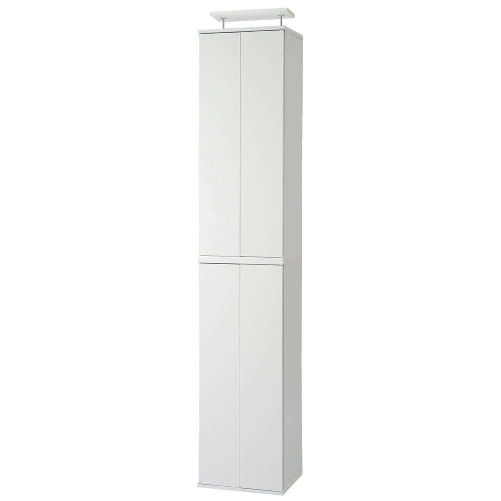 並べても使える 突っ張り式ユニットシューズボックス 天井高さ214~224cm用・幅45cm[紳士靴対応] (ウ)ホワイト色見本 写真は幅45高さ234~244cmタイプです。