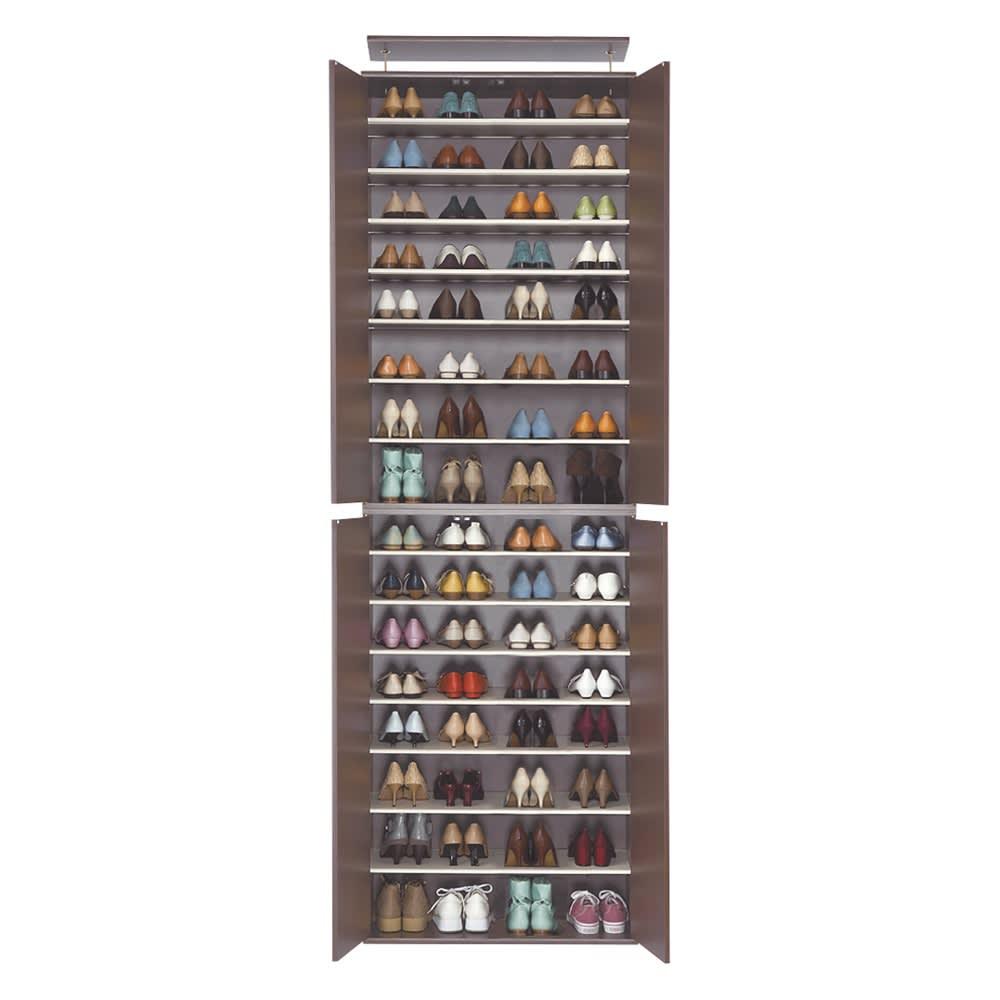 並べても使える 突っ張り式ユニットシューズボックス 天井高さ214~224cm用・幅80cm[紳士靴対応] 色見本(ア)ダークブラウン ※写真は幅80天井高さ264~274cmタイプです。
