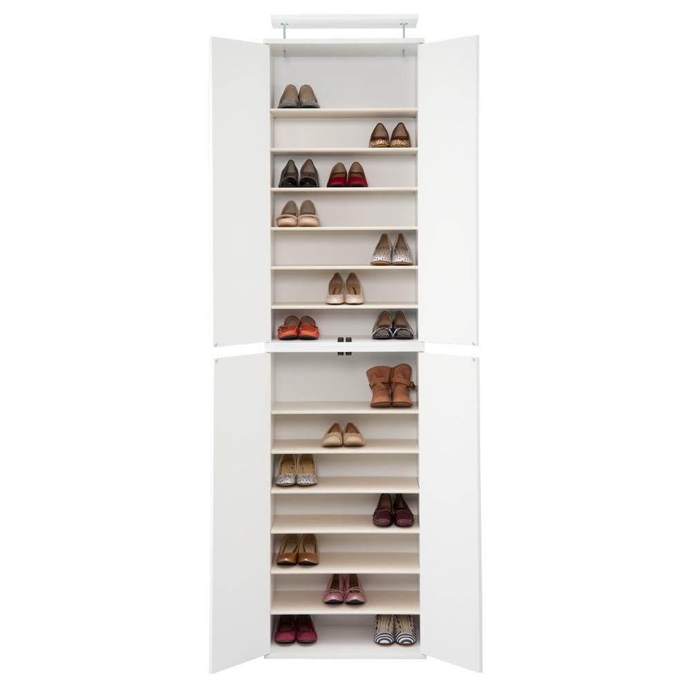 並べても使える 突っ張り式ユニットシューズボックス 天井高さ264~274cm用・幅60cm[紳士靴対応] (ウ)ホワイト色見本 写真は幅60高さ234~244cmタイプです。