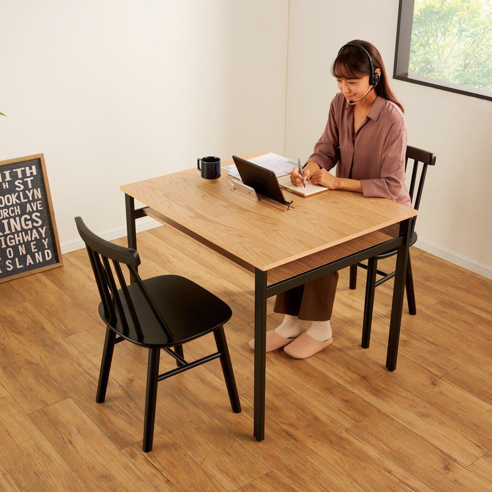おうちの時間が快適になるオーク天然木ブルックリンダイニングシリーズ 3点セット(テーブル・幅90cm+ウィンザーチェア2脚組) ダイニングセット・ダイニングテーブルセット