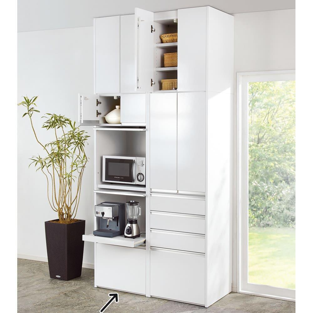 家具 収納 キッチン収納 食器棚 レンジ台 レンジラック キッチンラック 大型レンジがスッキリ隠せるダイニングボードシリーズ 家電タイプ・幅57.5cm 587943