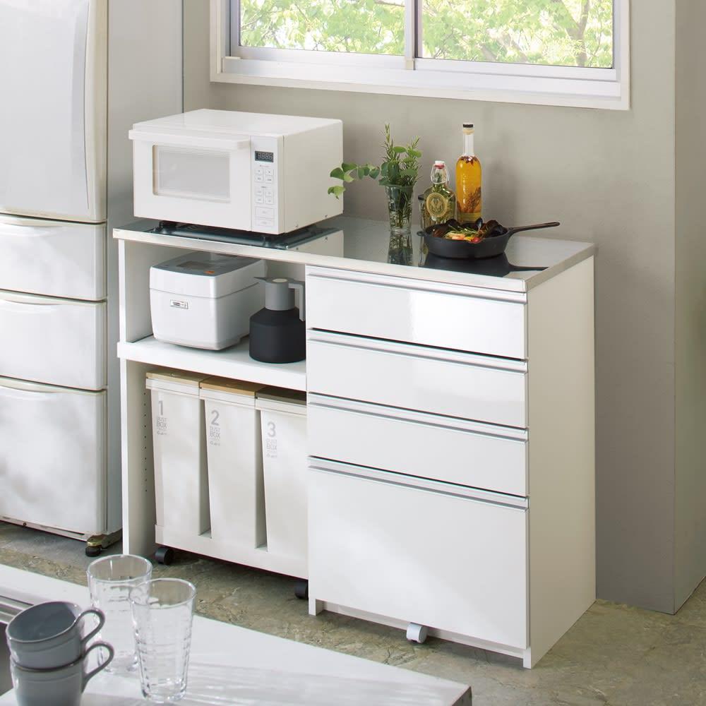 システムキッチンのようなステンレス天板カウンター 幅120.5cm (ア)ホワイト
