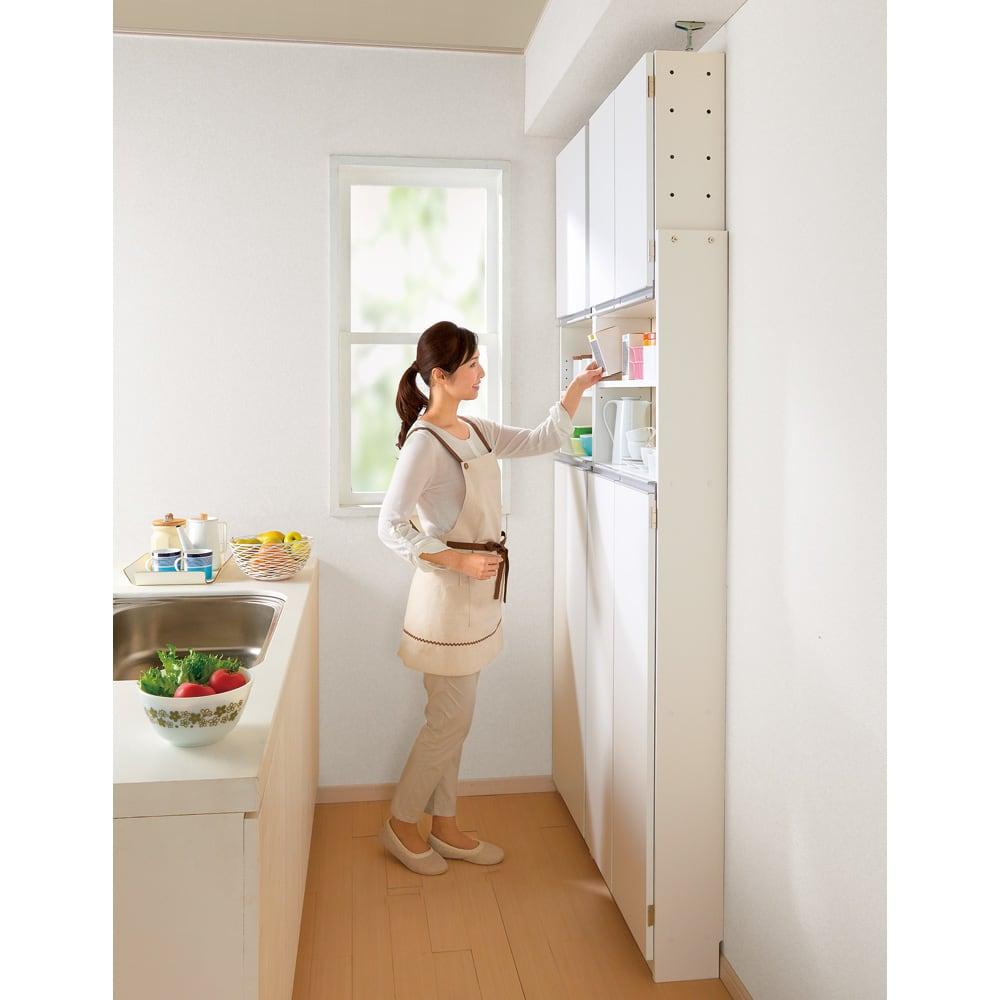 薄型で省スペースキッチン突っ張り収納庫 扉タイプ 幅60cm・奥行19cm 狭いキッチンのスペース活かす技ありの薄型キッチンラック。 おしゃれなシステムキッチンになじむ人気のデザインの食品収納庫です。