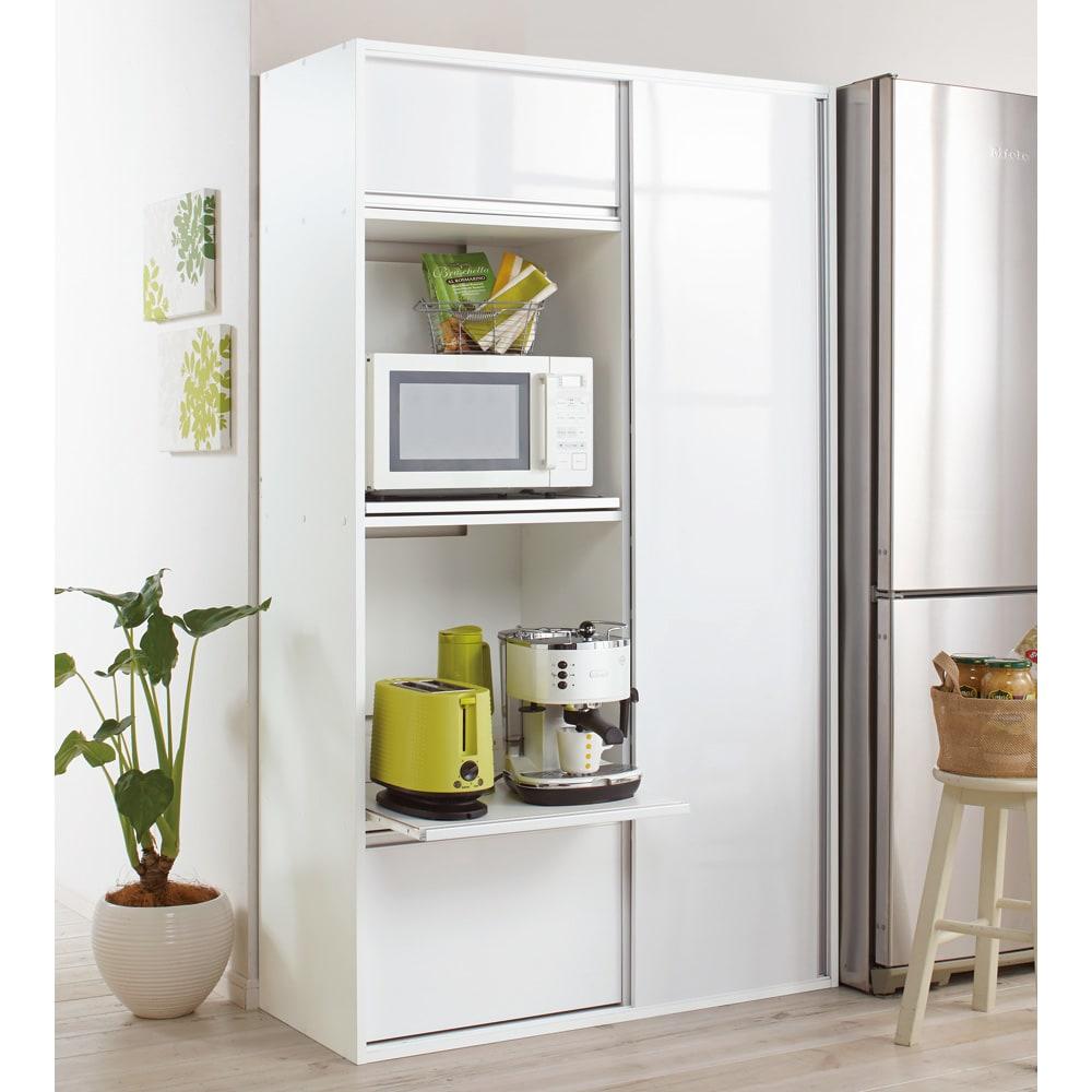 引き戸スライド扉で隠せる光沢仕上げキッチン家電収納庫 奥行45cmタイプ ホワイト 食器棚・ダイニングボード