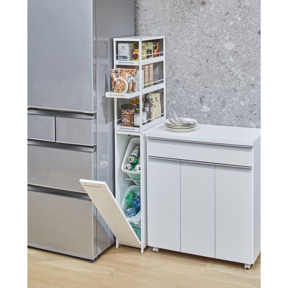 分別できるペール付きすき間ダスト収納 ハイタイプ高さ150cm・2分別 幅22cm ホワイト 分別ゴミ箱