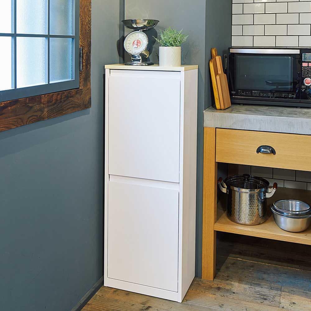 カラフルなペールでわかりやすく分別できる スチール製ダストボックス 幅42cm 高さ115cm (ア)ホワイト 清潔感のあるホワイト。キッチンのコーナーにもスッキリ納まります。