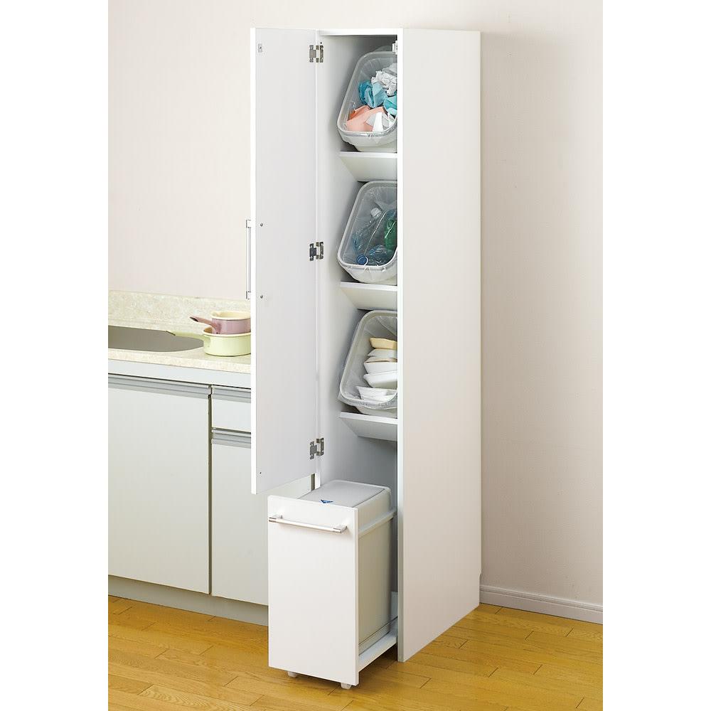 組立不要 キッチン分別タワーダストボックス 幅28.5cm スリム4分別 ゴミ箱タイプ (ア)ホワイト 縦型なので省スペースでも多分別可能なゴミ箱です。