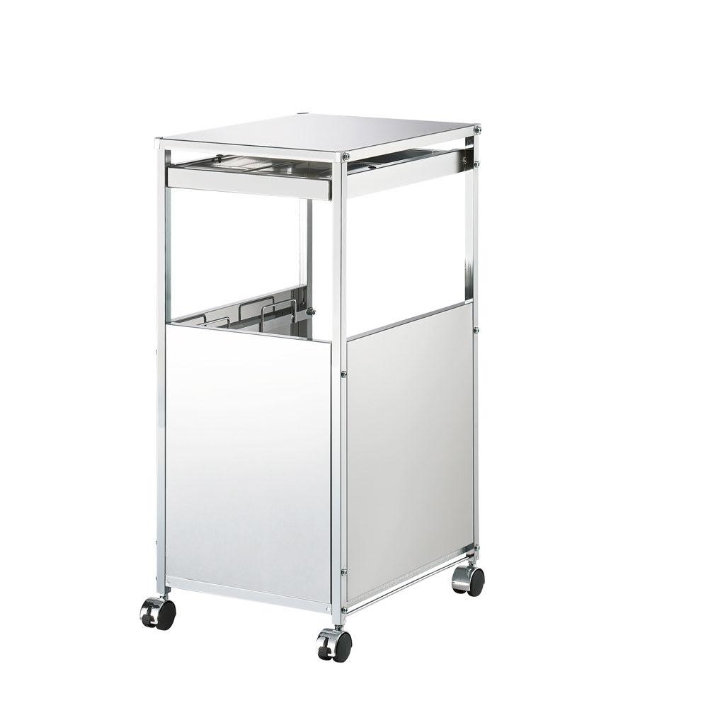 作業台下を有効活用 引き出し付きステンレスワゴン ダストワゴン 幅35cm キッチンのすき間や作業台下に収まる幅35cmのダストワゴン。