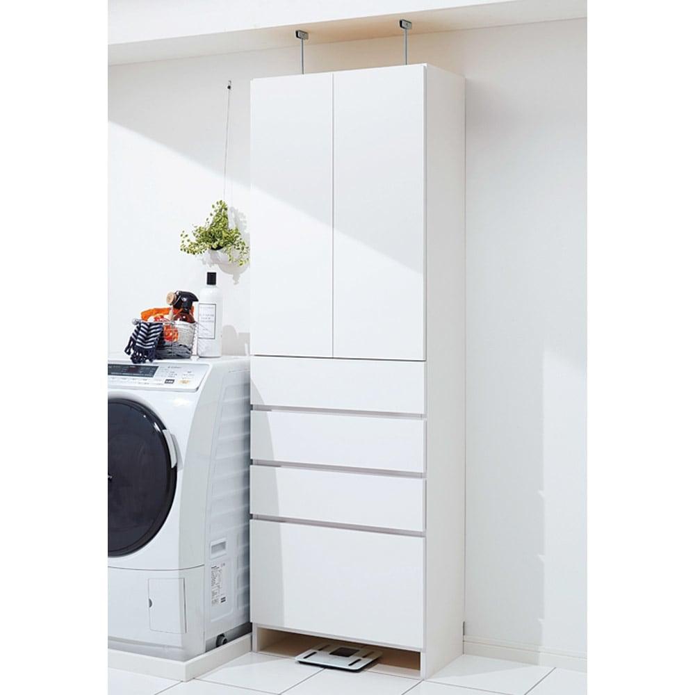 組立不要 天井まで使える薄型サニタリーチェスト 奥行31.5cmタイプ・幅60cm 狭い洗面所にぴったりの清潔感のある収納庫です。本体だけでもお使いいただけます。