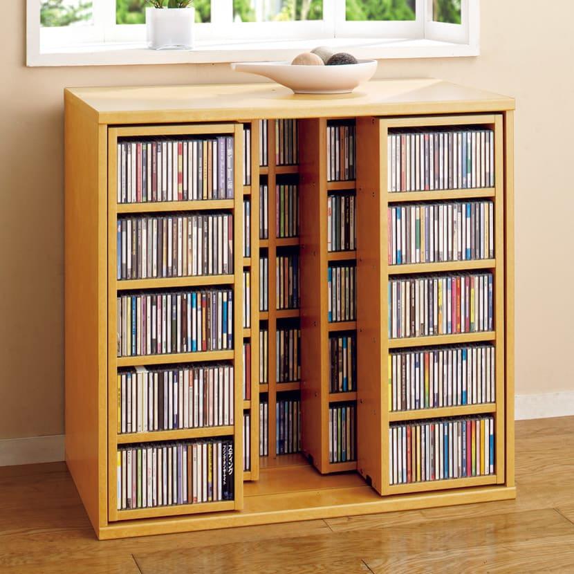 スライド式CD&コミックラック 3重タイプ5段 幅90cm [CD用] (ア)ライトブラウン